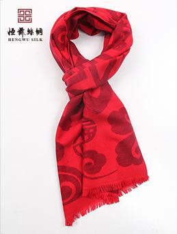 真丝红围巾